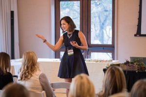book alexandra for speaking and media, picture of alexandra speaking at an event